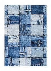 Tapis 160 x 230 cm (wilton) - Indigo Denim Patch (bleu)