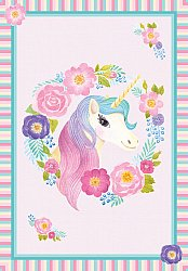 Tapis enfants - Unicorn Flowers (rose)