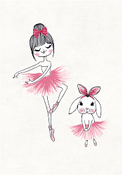 Tapis enfants - Dancing ballerinas (rose)