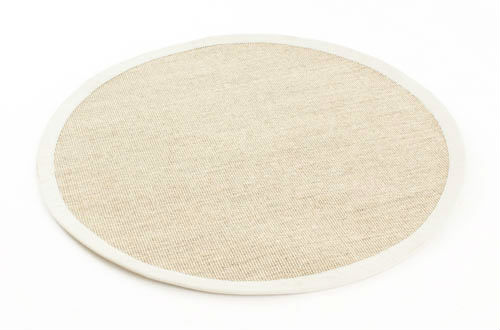 tapis rond sisal salvador nature blanc. Black Bedroom Furniture Sets. Home Design Ideas