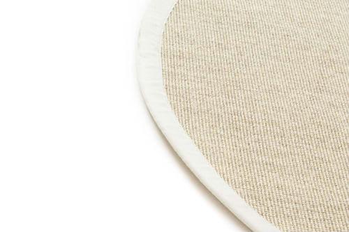 tapis rond sisal salvador nature blanc. Black Bedroom Furniture Sets. Home Design Ideas