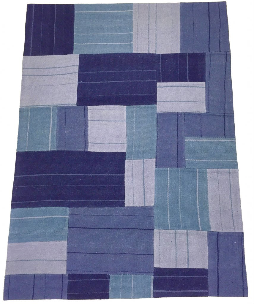 patchwork superior new wool patchwork bleu. Black Bedroom Furniture Sets. Home Design Ideas