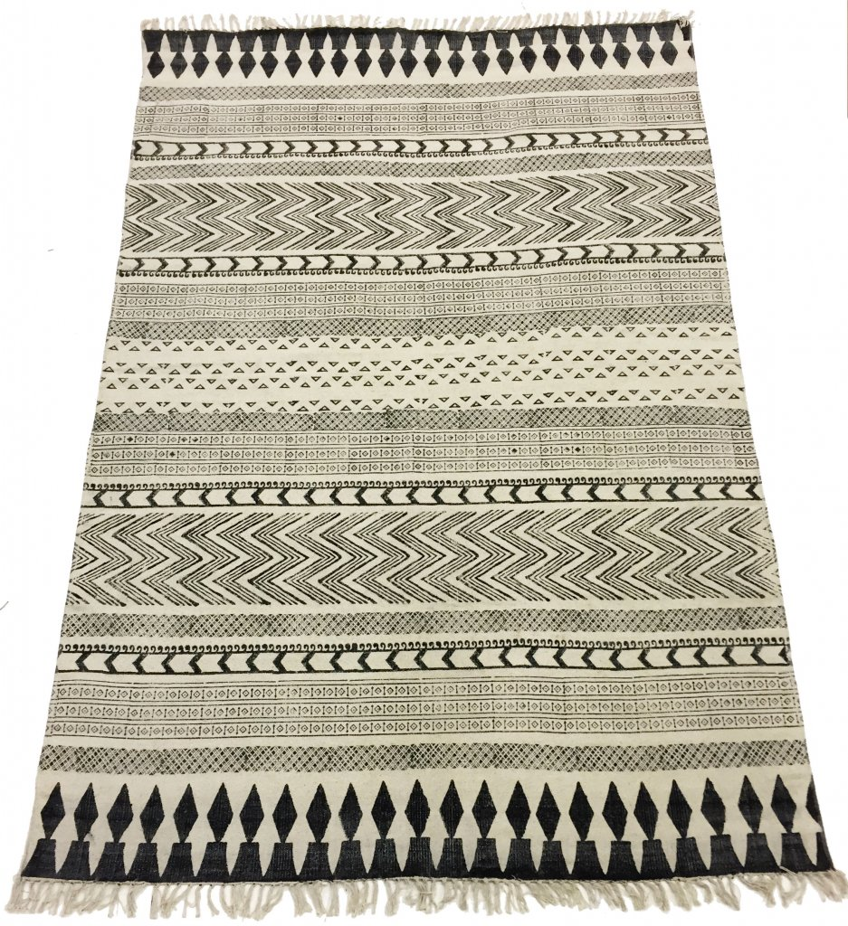 tapis chiffons large marrakech noir gris blanc 200 x 300 cm. Black Bedroom Furniture Sets. Home Design Ideas