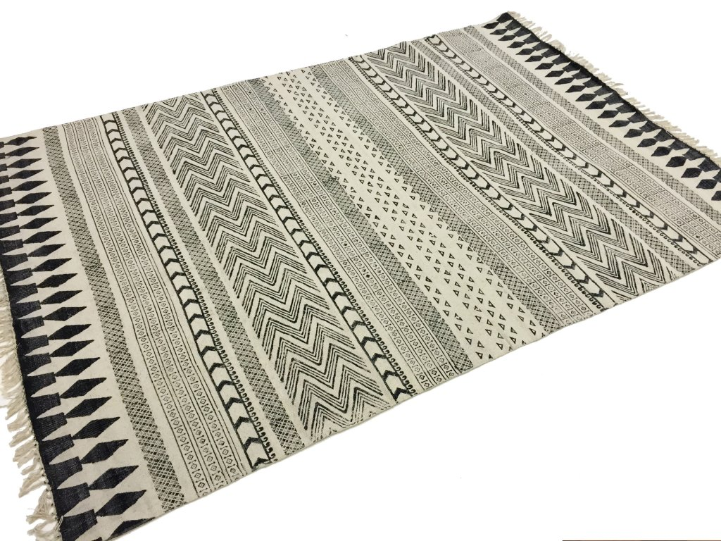 tapis chiffons large marrakech noir gris blanc 200 x. Black Bedroom Furniture Sets. Home Design Ideas