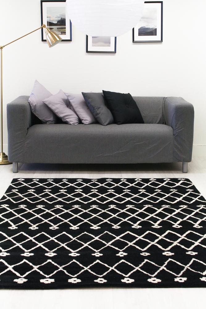 tapis de laine paleros noir blanc. Black Bedroom Furniture Sets. Home Design Ideas