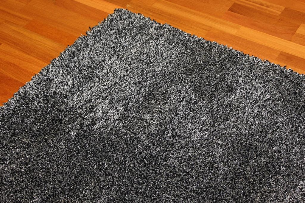 tapis shaggy shaggy deluxe noir silver. Black Bedroom Furniture Sets. Home Design Ideas